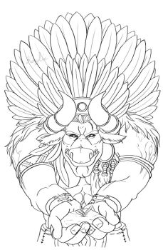 Baine Bloodhoof - Outlines by Kaynkayn