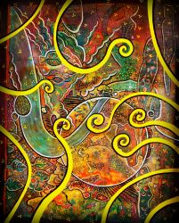 darker colorfull mess with yellow spirals by santosam81