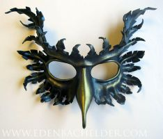 Gryphon leather mask, dark blue-green and gold by shmeeden