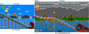 Sonic rides the log flume (Old vs NEW) by DanielMania123