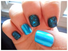 Deep Sea Sparkle Nails by Ebony-Rose13