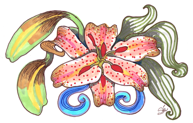 Floral- Lily design 01 600dpi CNT-ROT by exclusivelysu