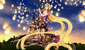 Rapunzel Giantess - I can see the lights! by ChibiYvi