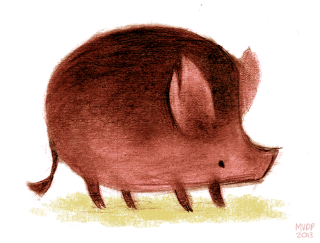 Pig Sketch by sketchinthoughts