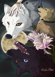 Baying to the Moon, Wolf's Rain Fanart by BaronBoar