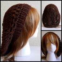 Brown Crochet Hat w Knit Brim by StrangeKnits