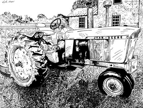 Tractor 04 (Ink) by KeithMeyerArt