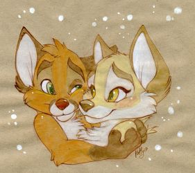 fox Hugs by kotenokgaff