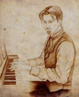 Doc Holliday at the piano by wraithwitch