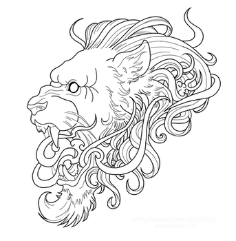 Neotraditional Lion - WIP  (tattoo project) by Fgore