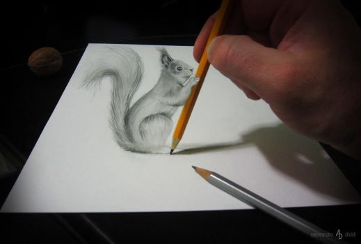 Squirrel with pencil by AlessandroDIDDI