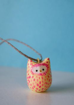 Pink Owl Pendant by hayflower