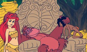 Mowgli And Ariel With King Louie by jazz316