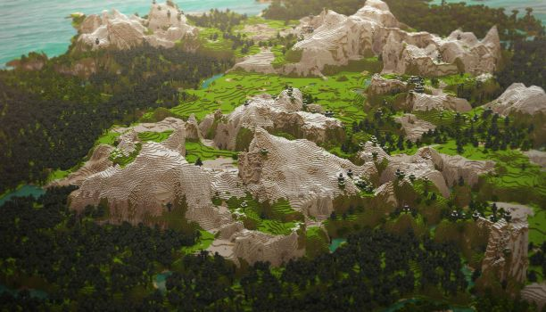 Minecraft Landscape: Mountains by cuberon
