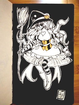 InkTober Day 28~ Little witch. by MonkeyHazard
