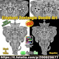 Elephant Zentangle vector - by BluedarkArt by Bluedarkat