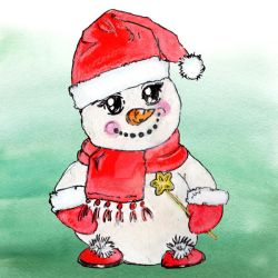 Snowman Colour Clipart by GirlinDesign