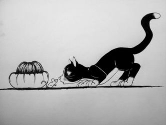 Inktober - Cat, Mouse, and Turban Squash by LilyWinterharp