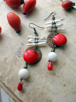Japanese style Wire Wrapped earrings by Lirimaer86