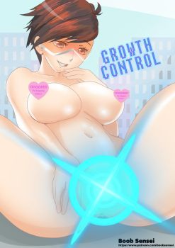 Tracer fanart - Giantess growth - New Power by boobsensei