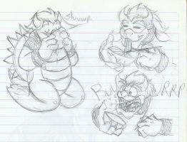 Bowser eating ramen (old sketches) by MileenaKoopa