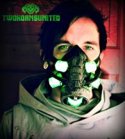 The Neuromancer Cyberpunk LED DJ gas mask by TwoHornsUnited
