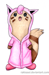 Furret with a Jigglypuff-raincoat by Rakkasei