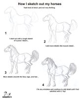 How I draw out my horses by pookyhorse