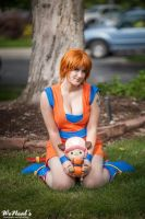 Nami and Chopper in their Goku outfits by St3phBot