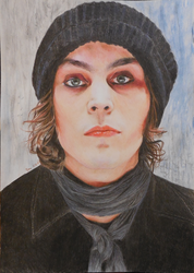 Ville Valo colored pencils by NotOKFun