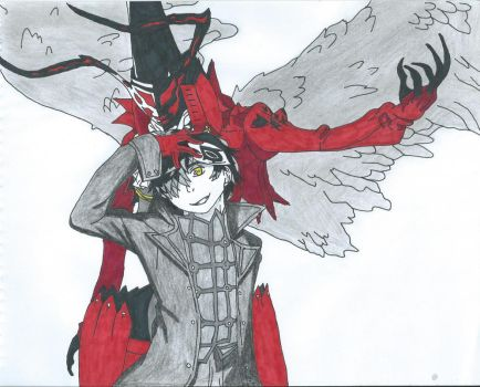 Persona 5- Protagonist and Arsene by Bluexorcist93