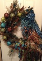 My Original Peacock Floral Design Wreath by SS331776