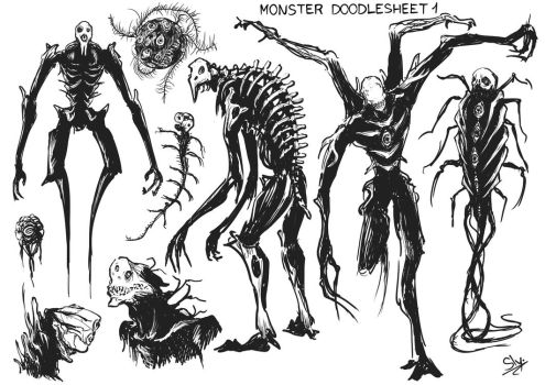 Monster Doodlesheet #1 by Sly-Mk3