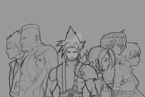 FF7 Crew lineart by Paterack