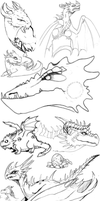 Scribbly Dragons by Blue-Hearts