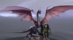Dragon Age dragon and Knight by Damrick