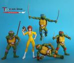 Classic Turtles and my custom April O'Neil :) by zelu1984