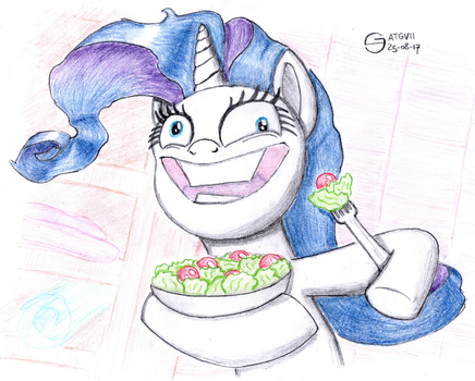 Rarity Laughing Alone With Salad by S-Guide