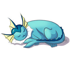 sleeping Vaporeon by Mini-Drachin