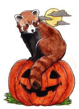 Halloween Red Panda by Refielle