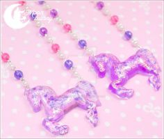 Dreamy carousel horse Necklace by CuteMoonbunny