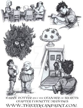 Harry Potter: Book 2 Chapter 1 Vignette Drawings by TheGeekCanPaint