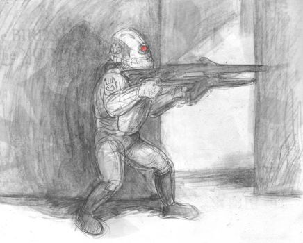 Elite Combine Soldier in a Hallway by LinmirianJoyrex