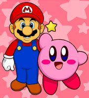 Mario and Kirby by cuddlesnam