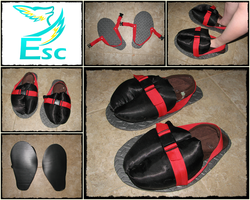 Fursuit Sandals: Hooved with Red Straps and Buckle by Eternalskyy