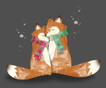 Snuggly foxes by rockgem