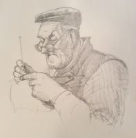 Old man knitting by JeremyWDunn