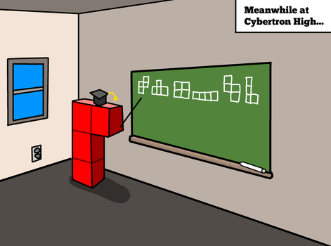 Tetris Block in Cybertron teaching in a classroom by anonymousClaim