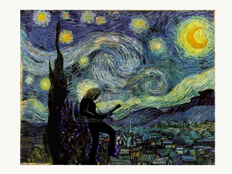 Van Cusack Guitar Player on a Starry Night by Cusackart