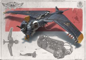 Redesign: Crimson Skies (Big Bat heavy fighter) by martydesign